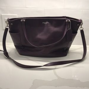 Purple leather Coach Diaper Bag
